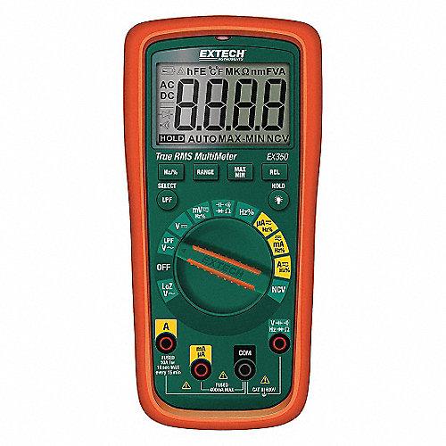 Multímetro Digital, 4000 Conteos, Precisión ±0.50% de la Lectura, + 2 Dígitos, TRMS, Amperes Máx. CA 10, Voltios Máx. CA 600