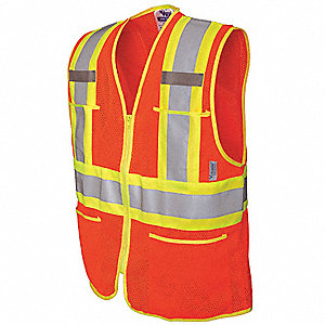 Orange/Red with Silver, ANSI 2, Zipper Closure, S