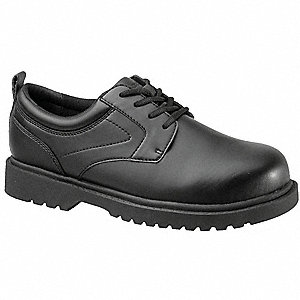 Men's Work Shoes, Steel Toe Type, Action Leather Upper Material, Black, Size 9-1/2W