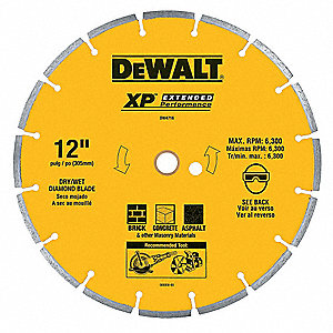 "4-1/2"" Dry Diamond Saw Blade, Segmented Rim Type, Application: Masonry"