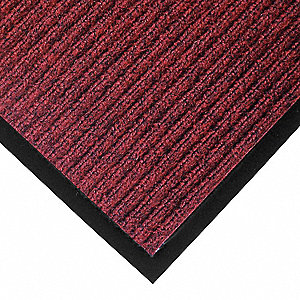 "Indoor Entrance Mat, 4 ft. L, 3 ft. W, 3/8"" Thick, Rectangle, Red/Black"