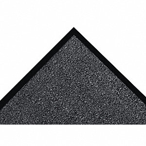 "Indoor Entrance Mat, 4 ft. L, 3 ft. W, 3/8"" Thick, Rectangle, Charcoal"
