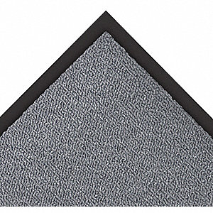 "Indoor Entrance Mat, 6 ft. L, 3 ft. W, 5/16"" Thick, Rectangle, Gray"