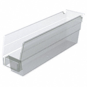 "Shelf Bin, Clear, 4""H x 11-5/8""L x 2-3/4""W, 1EA"