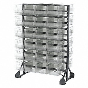 "2-Sided Bin Rail Floor Rack with 48 Bins, 53""H x 36""W x 20""D, Gray"
