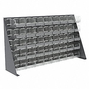 "Louvered Bench Rack,20"" H,40 Bins,Clear"