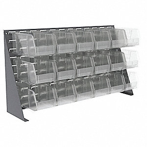 "Louvered Bench Rack,20"" H,18 Bins,Clear"
