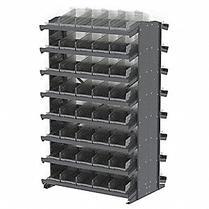 "Steel Pick Rack with 80 Bins, 36-3/4""W x 24""D x 60-1/4""H, Load Capacity: 1600 lb., Gray"