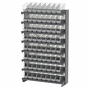 "Steel Pick Rack with 64 Bins, 36-3/4""W x 12""D x 60-1/4""H, Load Capacity: 800 lb., Gray"