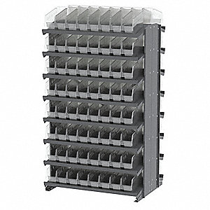 "Steel Pick Rack with 128 Bins, 36-3/4""W x 24""D x 60-1/4""H, Load Capacity: 1600 lb., Gray"