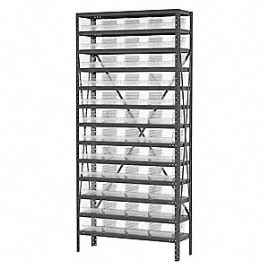 "Steel Bin Shelving with 48 Bins, 36""W x 12""D x 79""H, Load Capacity: 6500 lb., Gray"