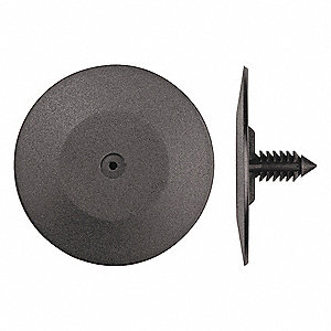 "Ribbed Push In Rivet, Plastic, 1/4"" Dia., 3/4"" L, 0.250"", Black"