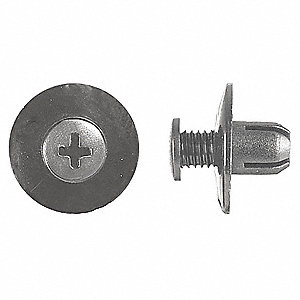 Expanding Push In Rivet, Nylon, 8mm Dia., 9mm L, 8mm, Black