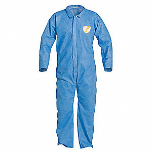 Collared Disposable Coverall with Open Cuff, Blue, 2XL, SMS
