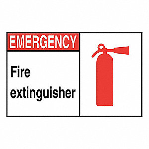 Fire Sign,Alum,7 in. H,Fire Extinguisher