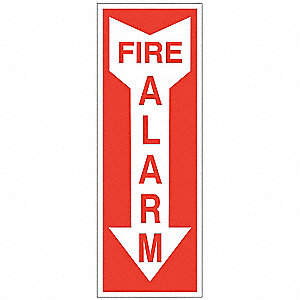 Fire Sign,14inH x 3-1/4inW,Fire Alarm
