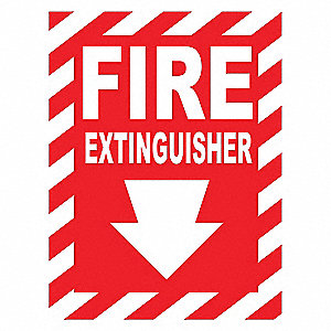 Fire Sign,10inH x 7inW,White/Red,Surface