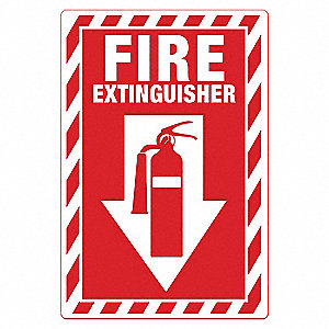 Fire Sign,Alum,14 in H,Fire Extinguisher