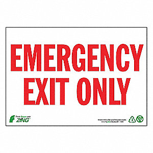 "Emergency Exit Sign,10"" x 14"",Plastic"