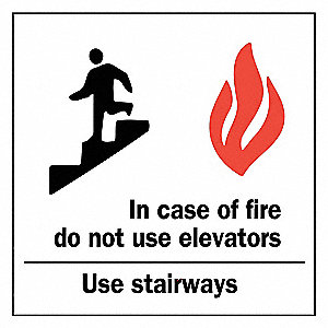 Fire Sign,Alum,10inHx7inW,Blk/Red/White