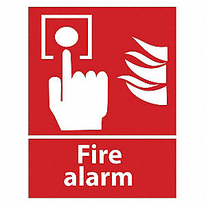 FIRE ALARM Sign, 10H x 7W, Glow