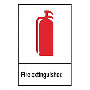 "Fire Equipment, Plastic, 10"" x 7"", Surface"