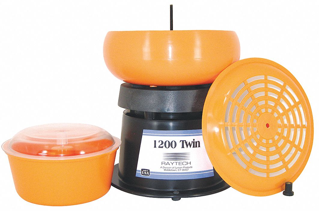 Twin Vibratory Tumbler,  Metal Finishing,  0.05 cu ft Container Capacity,  15 lb Weight Capacity