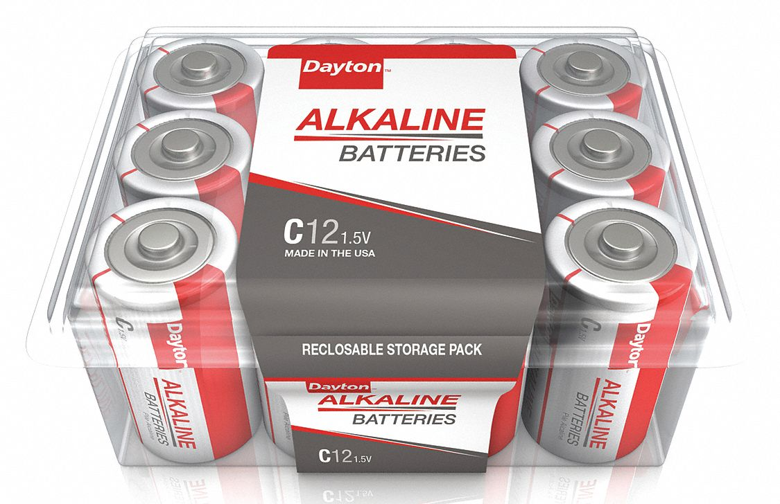 Dayton C C Battery,  Alkaline,  Everyday,  1.5V DC,  PK 12