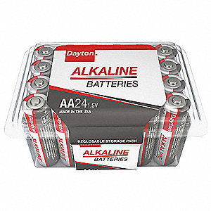 Dayton AA AA Battery,  Alkaline,  Everyday,  1.5V DC,  PK 24