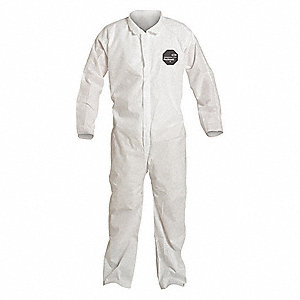 Collared Disposable Coveralls with Open Cuff, SMS Material, White, 3XL