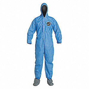 Hooded Disposable Coveralls with Elastic Cuff, SMS Material, Blue, M