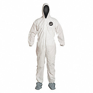 Hooded Disposable Coveralls with Elastic Cuff, SMS Material, White, 4XL