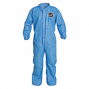 Collared Disposable Coveralls with Elastic Cuff, SMS Material, Blue, L
