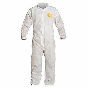 Collared Disposable Coverall with Elastic Cuff, White, 3XL, SMS