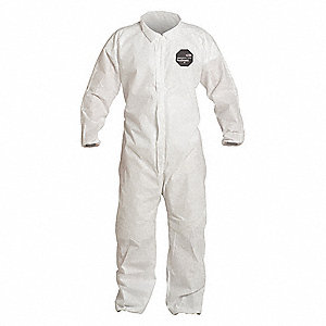 Collared Disposable Coveralls with Elastic Cuff, SMS Material, White, M