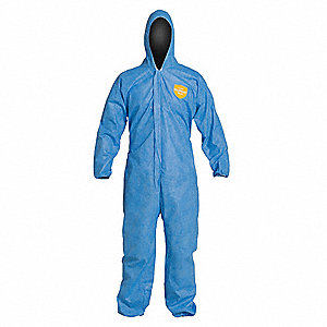 Hooded Disposable Coverall with Elastic Cuff, Blue, XL, SMS