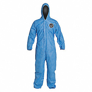 Hooded Coverall,Elastic,Blue,M,PK25