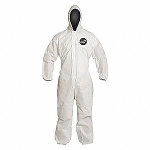Hooded Disposable Coveralls with Elastic Cuff, SMS Material, White, L