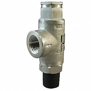 Stainless Steel Safety Relief Valve, FNPT Inlet Type, MNPT Outlet Type