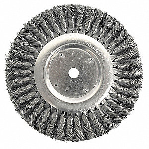 "8"" Twisted Wire Wheel Brush, Arbor Hole Mounting, 0.023"" Wire Dia., 1-5/8"" Bristle Trim Length, 1 EA"