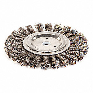 "6"" Twisted Wire Wheel Brush, Arbor Hole Mounting, 0.023"" Wire Dia., 1-3/8"" Bristle Trim Length, 1 EA"