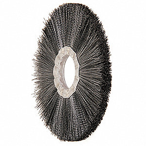 "8"" Crimped Wire Wheel Brush, Arbor Hole Mounting, 0.020"" Wire Dia., 2-1/2"" Bristle Trim Length, 1 EA"