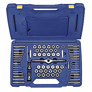 "Carbon Steel Tap and Die Set, SAE and Metric, Number of Pieces: 75, #4 to 1/2"", M3 to M12 Size/Range"