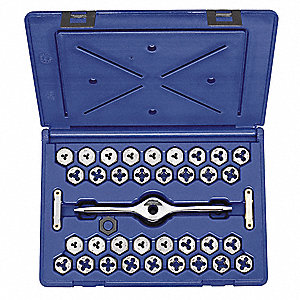 "Carbon Steel Die Set, SAE and Metric, Number of Pieces: 38, #4 to 1/2"", M3 to M12, 1/8"" NPT, 1/8"" BS"
