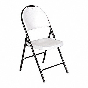 Black Steel Folding Chair with Gray Seat Color, 4PK