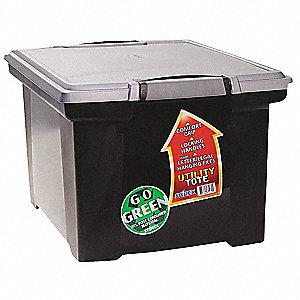 File Storage Box, Lid, Black/Silver, Plstic