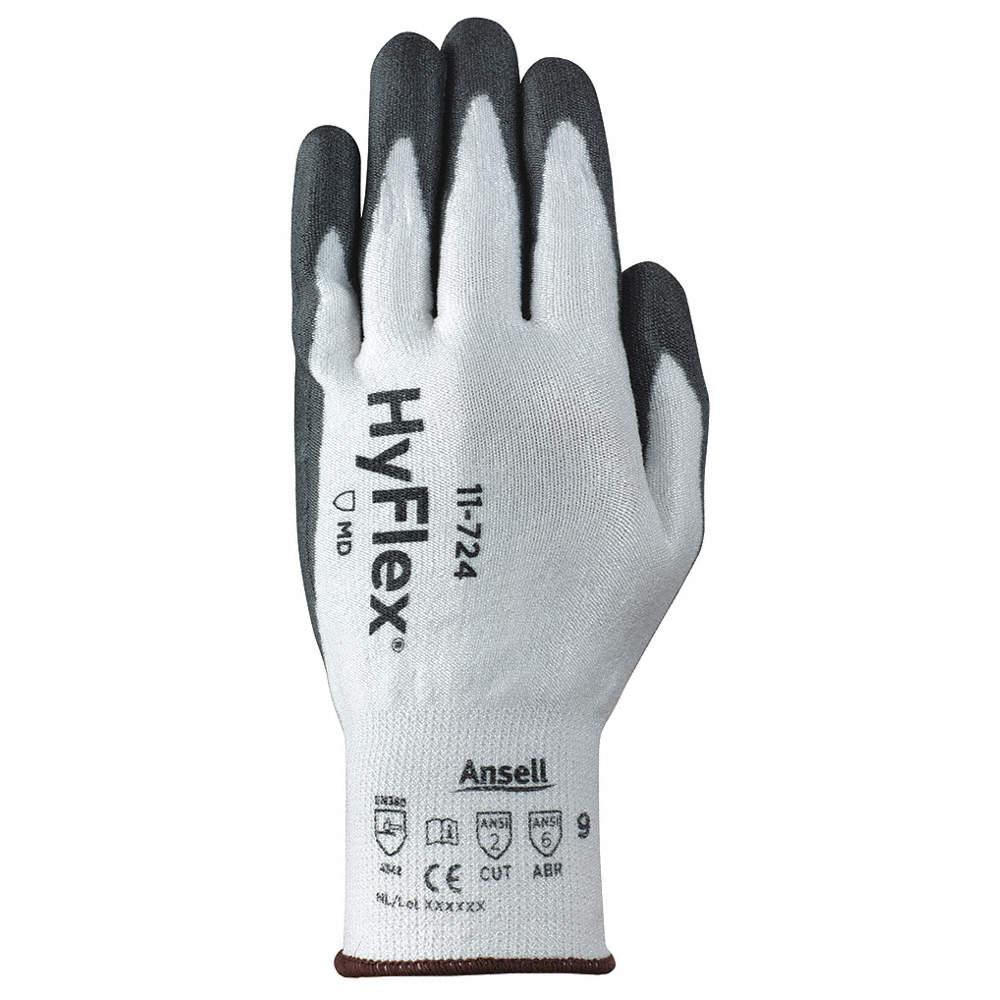 Polyurethane Cut Resistant Gloves, ANSI/ISEA Cut Level 2, HPPE, Spandex Lining, Black/White, 9, PR 1