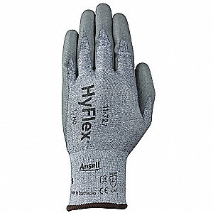 Polyurethane Cut Resistant Gloves, ANSI/ISEA Cut Level 2, HPPE, Lycra® Lining, Gray, 9, PR 1