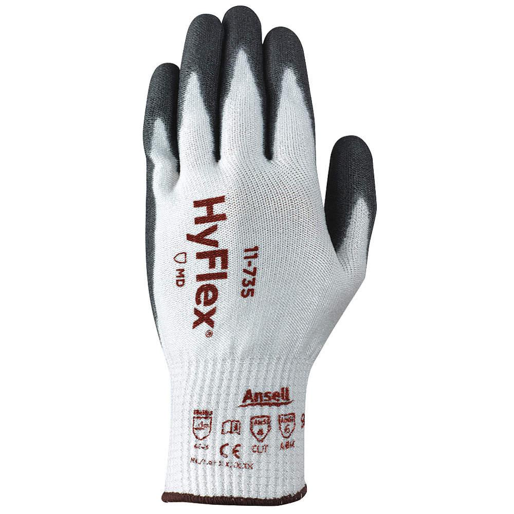 Polyurethane Cut Resistant Gloves, ANSI/ISEA Cut Level 4, HPPE, Nylon, Glass Fiber, Spandex Lining,