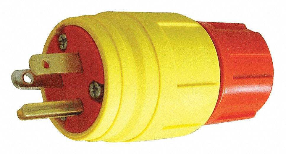 20A Industrial Grade Shrouded Watertight Locking Plug, Yellow; NEMA Configuration: L15-20P